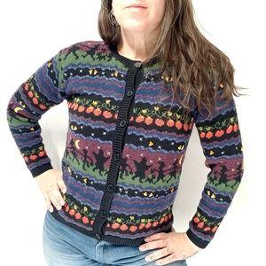 vtg TALBOTS Halloween Novelty Cardigan Sweater